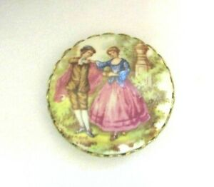Antique Button Round Porcelain Transfer In Brass Dancing Couple Waistcoat 1 5 16