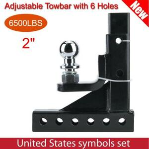 6500lbs Towing 2in Towbar Ball Mount Hitch Trailer Tongue Tow Bar Adjustable