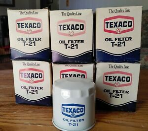 6 Vintage Nos Texaco Ta 21 Oil Filters In Box