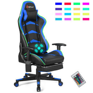 Massage Led Gaming Chair Reclining Racing Chair W lumbar Support