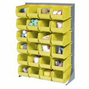 Louvered Bin Rack With 12 Yellow Stacking Bins 35 w X 15 d X 50 h