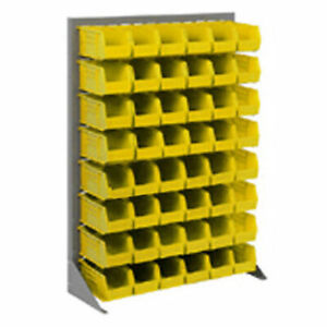 Louvered Bin Rack With 42 Yellow Stacking Bins 35 w X 15 d X 50 h