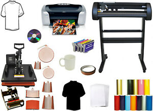 28 24 Laser Vinyl Plotter Cutter printer sublimation pu 8in1 Combo Heat Press