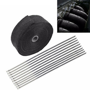 2 X 50ft Black Fiberglass Manifold Header Pipe Motorcycle Exhaust Heat Wrap