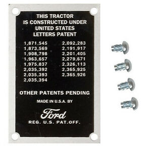 Patent data Plate With 4 Screw For 8n Ford Tractor Part 8n14001