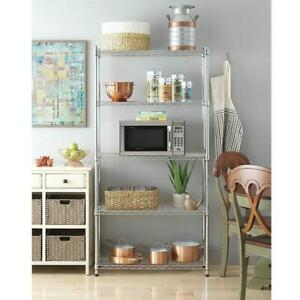 New Heavy Duty Wire 5 Tier Shelving Rack Adjustable Shelf Steel Storage Kitchen
