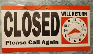Open Closed Sign 11 5 X 6 Double Sided Hanging Plastic Will Return Clock red