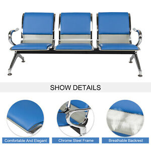 3 seat Office Reception Chair Waiting Room Bench Visitor Guest Airport Clinic