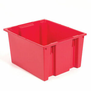 Stack And Nest Shipping Container No Lid 23 1 2x19 1 2x10 Red Lot Of 3