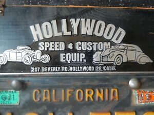 Vtg Hollywood Speed Shop License Plate Topper So Cal Custom Equipment Saltdrag
