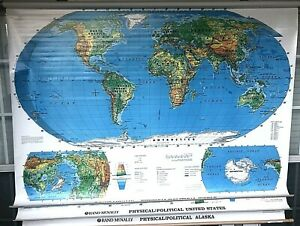 Rand Mcnally Physical Political World Us Alaska 50 Mount Bracket Included