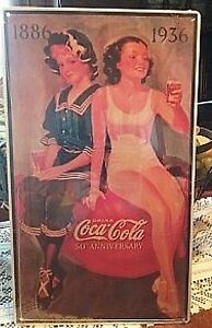 9 Inch X 16 Inch DRINK Coca Cola 50th ANNIVERSARY Metal Sign