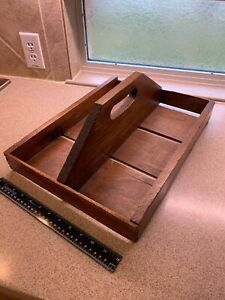 Vintage Wooden Berry Basket Holder With Red Paint On Sides