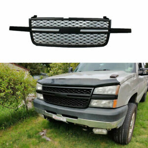 Abs Black Front Grill Fit 2005 2007 Chevy Silverado 1500 2500hd 3500 Grille