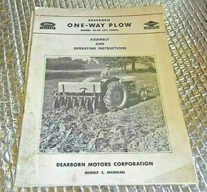 1950 Ford Dearborn One way Plow 10 47 Manual Operating Assembly Instructions