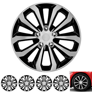 Set 4 Hubcaps 16 Wheel Cover Silver Black Abs Easy To Install Universal Fit