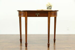 Demilune Or Hall Antique Mahogany Inlaid Console Table 1870 S 33406