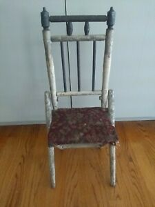 Antique Primitive Folk Art Doll Chair Hand Crafted Carpet Seat Furniture Old