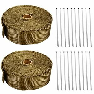 2 Rolls X Titanium Lava Header Manifold Exhaust Heat Wrap Tape 20 Ties 2 X 50ft