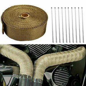 Titanium 2 50ft Exhaust Header Heat Wrap Trap Motorcycle Fiberglass 10 Ties