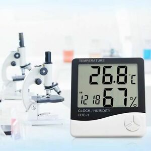 Free Shipping 1 Pc Indoor Digital Lcd Temperature Humidity Meter Clock Newest