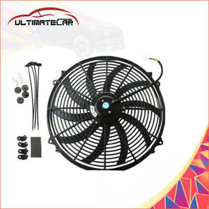 1x16 Inch Universal Electric Radiator Engine Cooling Slim Fan 12v Mount Kit