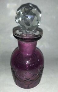 Purple Cut To Clear Glass Perfume Bottle W Ground Glass Stopper 4 1 2