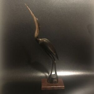 Wooden Great Blue Heron Carving