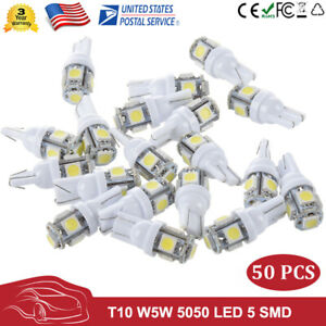 50 X T10 501 194 W5w 5050 Led 5smd Bulbs Car Hid Canbus Error Free Wedge Lights