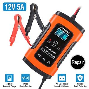 New Car Battery Charger 12v Volt Motorcycle Battery Repair Type Agm Charger