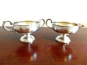 Vintage Crown Marked Sterling Silver Open Sugar Creamer Weighted Base