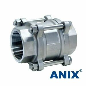 1 Spring Check Valve 3 piece Vertical In line 1000 Wog Stainless Steel 316