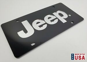 Acrylic Premium 3d Black License Plate W Mirror Script Emblem Logo For Jeep