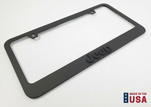 Matte Black Premium License Plate Frame W Script Emblem Logo For Jeep