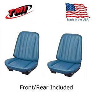 1966 Chevelle Coupe Blue Bucket Seat Rear Bench Upholstery By Tmi In Stock