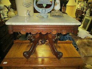 Late 19th Century Renaissance Revival Victorian Walnut Coffee Table W Marble