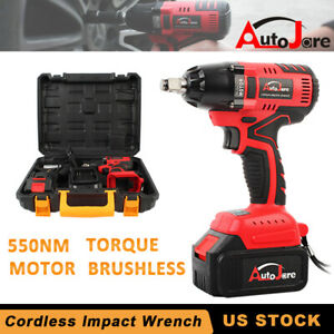 4900in Lbs Cordless Impact Wrench Rattle Gun Battery Charger Power Tool Set