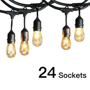 Commercial Weatherproof 48' FT Outdoor String Lights 24 Bulbs Party Patio Lights $58.98