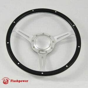 14 Black Forest Wood Steering Wheel Riveted Ford Shelby Ac Cobra W Horn Satin