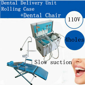 Dental Portable Folding Mobile Chair W Led Light delivery Unit Rolling Case Ups