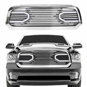 Front Big Horn Chrome Grille Shell With Light For 2013 2018 Dodge Ram 1500