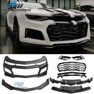 Fits 16 18 Chevrolet Camaro Zl1 Style Front Bumper Cover W Lip Grille Pp