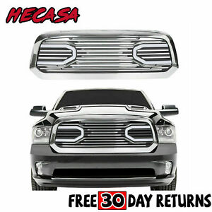 Front Big Horn Chrome Grille Grill Shell Light For 2013 2018 Dodge Ram 1500