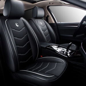 Black White Moon Standard 5 Seat Auto Car Leather Seat Covers Front Rear Cushion