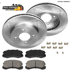 For 2002 2003 2004 2005 2007 Mitsubishi Lancer Front Brake Rotors Ceramic Pads