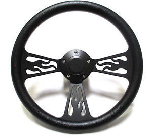 Billet Aluminum Black Flame Steering Wheel