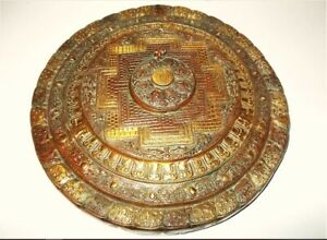 Bronze Tibetan Buddhist Ten Syllable Kalachakra Mantra Mandala Plate 15 Inches
