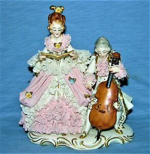 Antique Dresden Porcelain Lace Lady Singer And Man Playing Cello Figurine