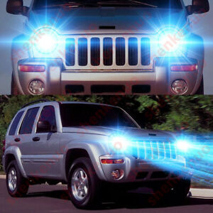 For Jeep Liberty 2002 2007 2x 8000k Ice Blue Led Headlight Bulbs High Low Beam