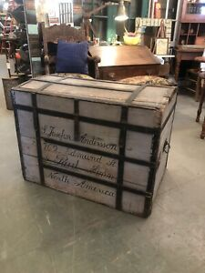 Circa 1890 Wood And Wrought Iron Curved Top Steamer Trunk Hand Painted